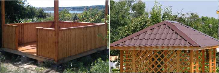 Каркас и крыша беседки из дерева