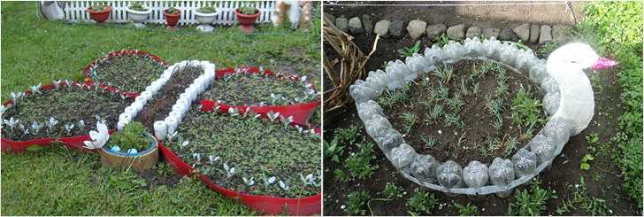 Идеи для клумбы из пластиковых бутылок