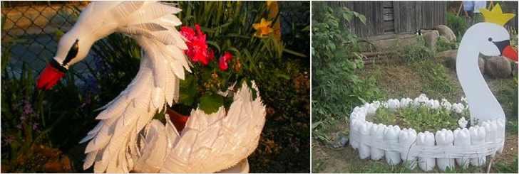 Как сделать клумбу из пластиковых бутылок в виде лебедя