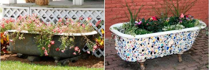 Необычные клумбы и цветники из ванн