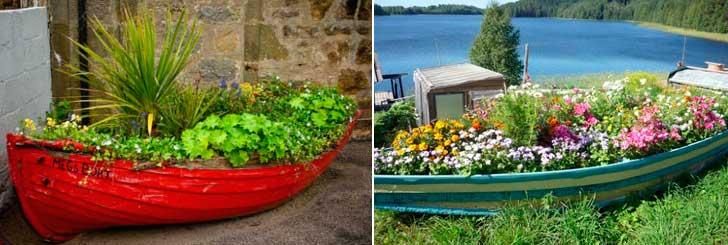 Необычные клумбы и цветники из старых лодок
